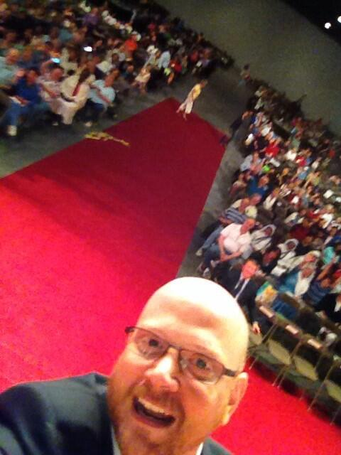 Selfie on the stage as I'm speaking at #EC2014  Let's trend the Eucharist! http://t.co/WhOBHAZbEE