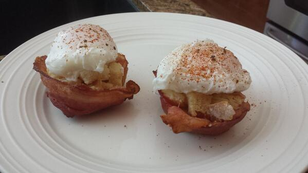 RT @matboske: @GuyGourmet poached egg on toast in a bacon bowl. #weekendfoodphotos http://t.co/rjCTZSElz0