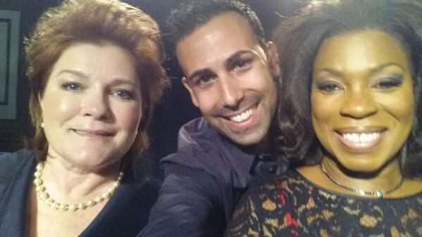 Selfie with @LPToussaint (Vee) & the twitterless boob-popper, Kate Mulgrew (Red). #OITNB http://t.co/Z8fVRoSAQL
