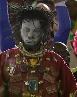 Somebody PLEASE ask this guy to make sure Ghana wins. He keeps shaking his dreads and we keep scoring. #BlackStars