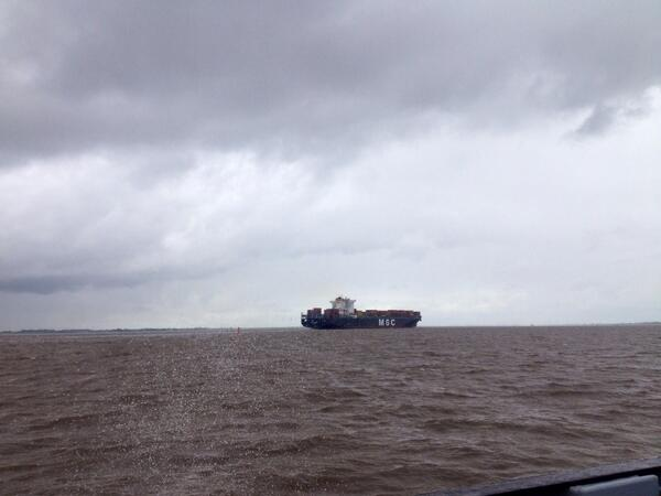 Overtocht zeemonding Elbe.