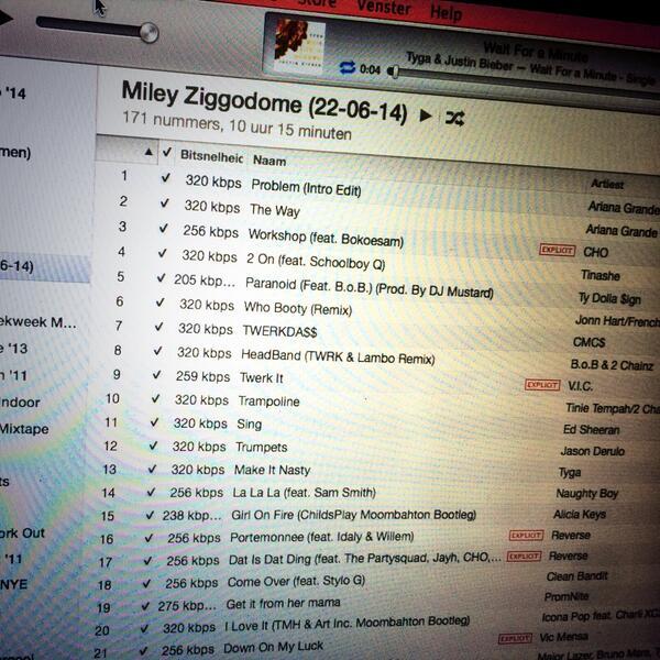 Bezig met de setlist voor morgenavond! #MileyCyrus #Bangerz