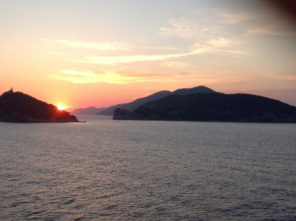 Sunset somewhere between La Spezia, Italy, and Villefranche, France. #DilDhadakneDo