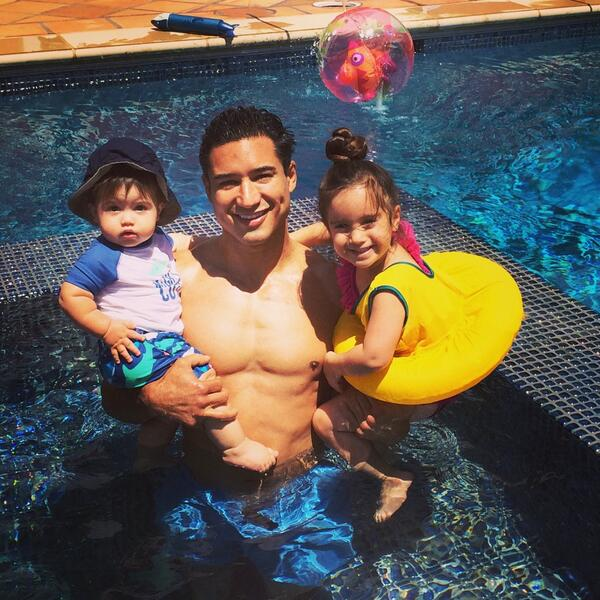 The first swim in our new pool! @MarioLopezExtra #littlefish http://t.co/BaX63ZtiKJ