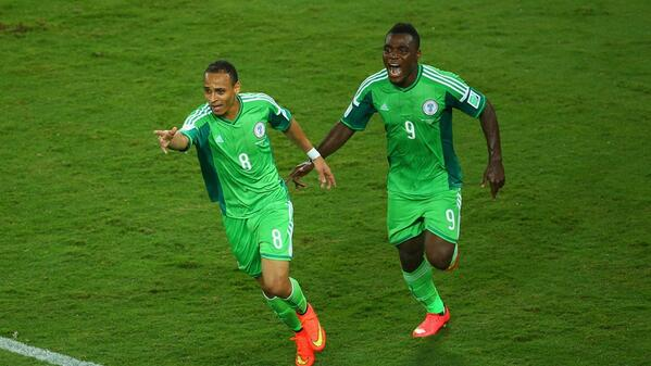 Odemwingie runs to the touchline with Emenike after scoring [via @FIFAWorldCup]