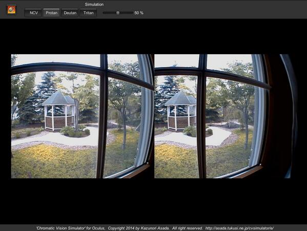 「色のシミュレータ for Oculus」できました。HMD(Oculus)とステレオカメラ(Ovrvision)を身に付け、様々な色覚型の色の見え方を体験できるウェアラブルアプリ。使ってみたい人がいたらお知らせください。リリース未定 http://t.co/TRq8BXzHUD