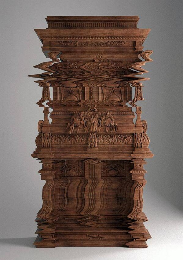 A cabinet carved to look like a digital glitch. http://t.co/gqHaMMWDJ6