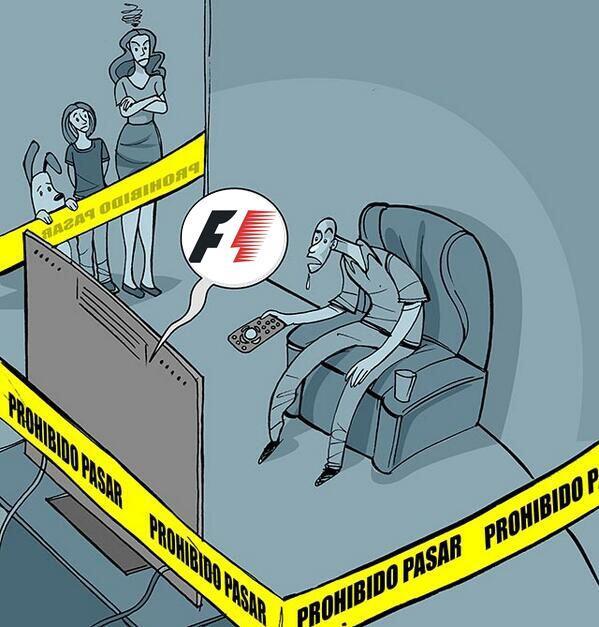 #HumorF1 Ya se empieza la carrera... ¡No molestar! :D http://t.co/TXFjMu4HDm