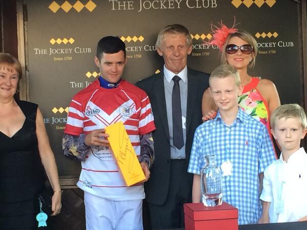 What a proud moment. The Prescott family with the winning jockey. #1precky @StevePrescott1 http://t.co/mKa409O9Ge