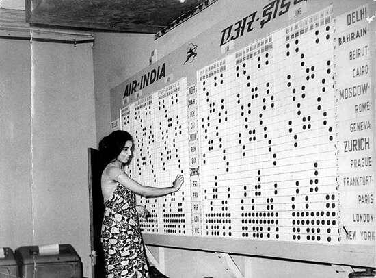 1963 :: Air India Employee updating  Airline Flight Schedule http://t.co/3HSsAzTwyr