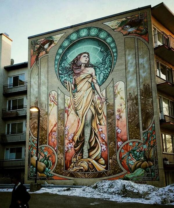 Beautiful!  Street art in #Montreal http://t.co/2ujII9rLgY