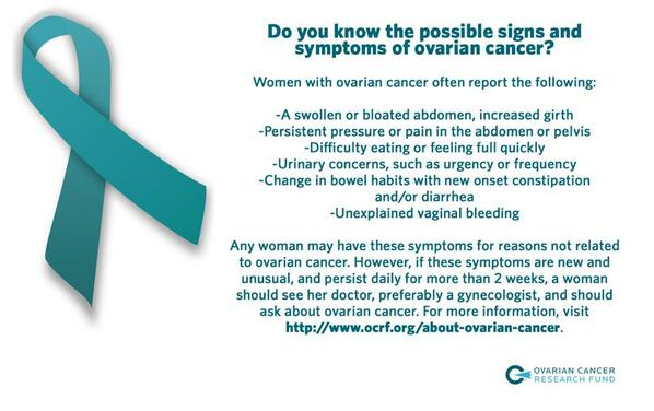 All women should know the signs and symptoms of #ovariancancer. Get informed, and spread the word! http://t.co/YX1jdl3fXi
