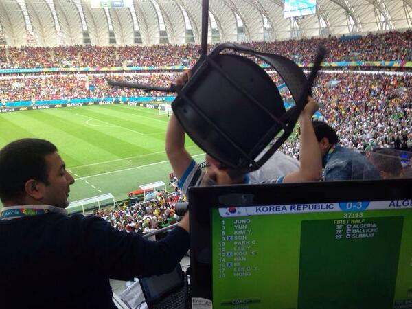 This is what happened at 3-0 ... In front of us the Algerian commentary team lost it !!! #passion #ALG (via Prod JBT) http://t.co/8xGqQ3LGoE