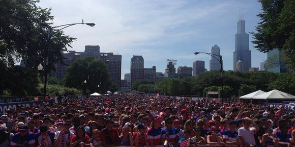 Chicago packs Grant Park again for #USAvPOR. Photo via @ussoccer http://t.co/ceMs7AQGDG #WorldCup #WorldCup2014