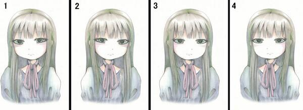 1の絵を左右反転させた2を見ると1でさほど気にならなかった輪郭や目元が歪んで見える。その2を修正したのが3。その3を左右反転させると4になり違和感は無くなる。3を一発で描けないデッサン力不足を思い知るがやっぱり1の絵が一番しっくりくる http://t.co/5ccv4wyWF7