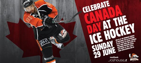 This Sunday we are celebrating Canada Day. Come down to the @Ice_house for some Canadian fun. #AIHL #bleedorange http://t.co/QZ2nh5eBHI