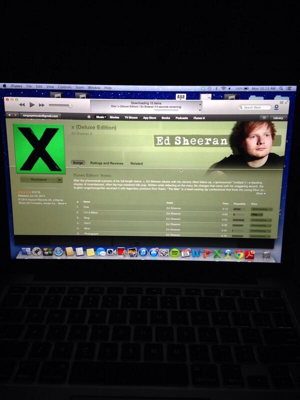 Wanted new @edsheeran. Sad I don't have a cd drive. OH WAIT IT'S 2014! @iTunesMusic exists! Y'all go get it too http://t.co/pADUjrkVsH