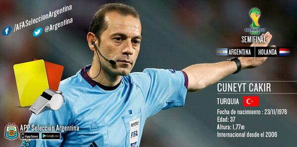 Terna para #ARG -#NED Arbitro Cuneyt Cakir. Asistentes: Bahattin Duran y Tarik Ongun. Todos de Turquía. http://t.co/XiaIdUNWid