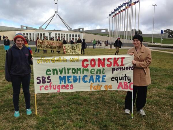#auspol #BustTheBudget Two young women spent yesterday making this.... http://t.co/IViHjsQTxw