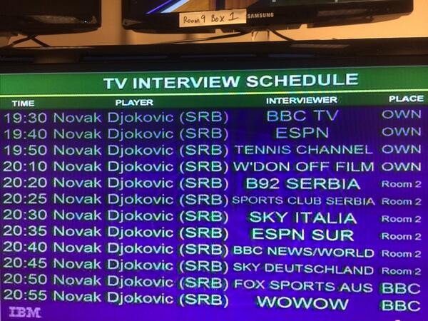 A few media commitments still to carry out for the Wimbledon Champ. #whenwillheeat http://t.co/afjozzAYKu
