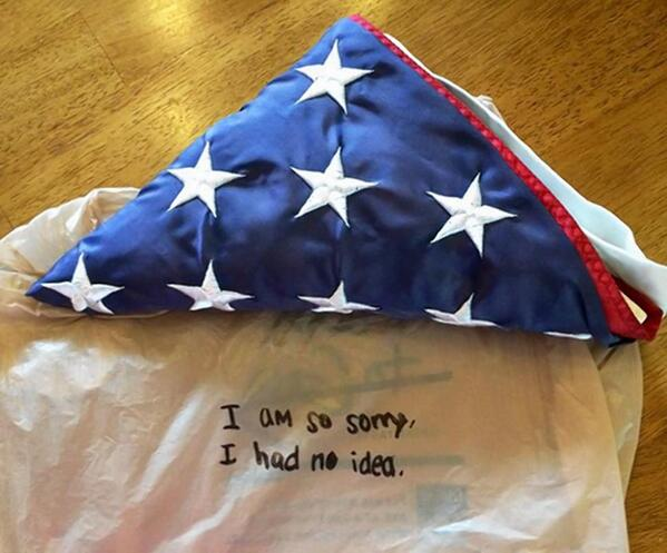 A flag stolen from the family of a firefighter killed on 9/11 is returned with a note: http://t.co/8sJDkMEUei http://t.co/MQ6TPCGWA5