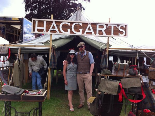 RT @templebuilders: My good lady with Saxony #tweed suit with a Sherlock Holmes hat outside our Haggart's vintage marquee @ScotGameFair http://t.co/kx1Nwmp16l