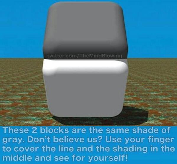 These 2 blocks are the same shade of gray. Don't believe us? See this pic: http://t.co/nFfXa3KL6f