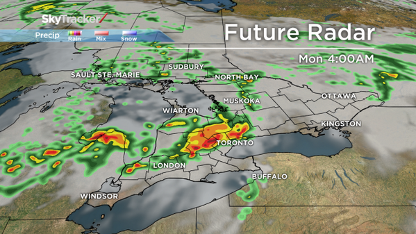 #skytracker Future Radar of storms. You might wake up to thunder/lightning around 4am in the GTA http://t.co/Ie6m9uvjiX
