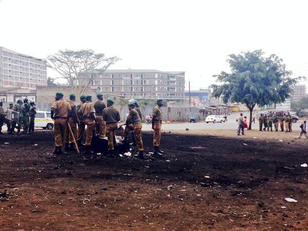 Security at the Kariokor Round about  #SabaSaba  @CitizenTVNews http://t.co/vVx2YMfy9M