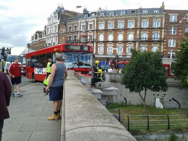 Go home bus, you're drunk. Dramatic bus action on Putney Bridge today (photo by my mum). Even busses hate Mondays. http://t.co/QAmgdspVtH