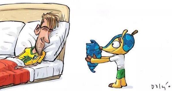 Sweet cartoon by artist Dalcio Machado on Neymar #WorldCup2014 http://t.co/kH2KRDSnUM