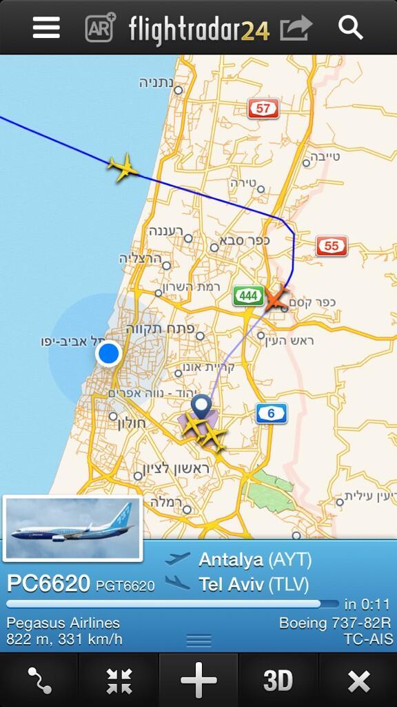 לאור המצב, המטוסים לא עוברים לנחיתה מעל תל אביב cc @haimhz @Gilli_Parann http://t.co/74Ex6qT31b