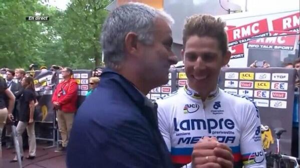 2 Special Ones together : the Master of tactics Mourinho and World Champ @RuiCostaCyclist @lampre_merida http://t.co/FCsBgukFaF