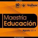 Maestría en Educación a través de Universidad Anáhuac Puebla (@UAnahuacPuebla) Agosto 2014 http://t.co/d9zoTmoLtR http://t.co/AaVslAm89B