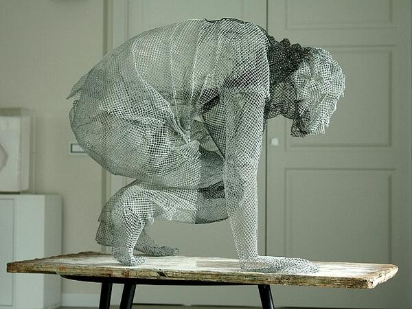 Transparent Figurative Sculptures Made from Metallic Wire Mesh by Edoardo Tresoldi  http://t.co/7la1Ulcw5w http://t.co/ZPGqGJUuJx