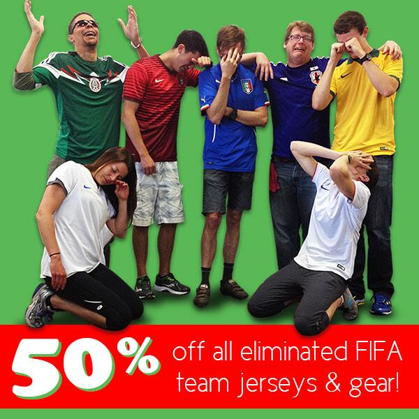 The US is out, but not in our hearts! Let's suffer together: take 50% off all eliminated #FIFA team jerseys and gear! http://t.co/5FWnfmW5xl
