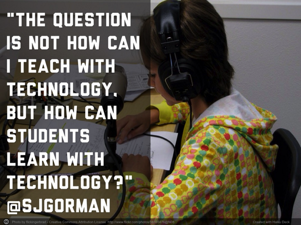 """The questions is not how I can teach with technology..."" -@sjgorman More from #iplza14: http://t.co/qwQmmRmrs8 http://t.co/N8HDP1MeLf"