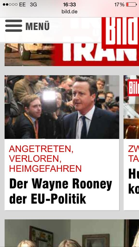 German tabloid Bild calls Cameron 'The Wayne Rooney of EU Politics'   'Arrived. Lost. Departed' http://t.co/E2rEAWUcRB