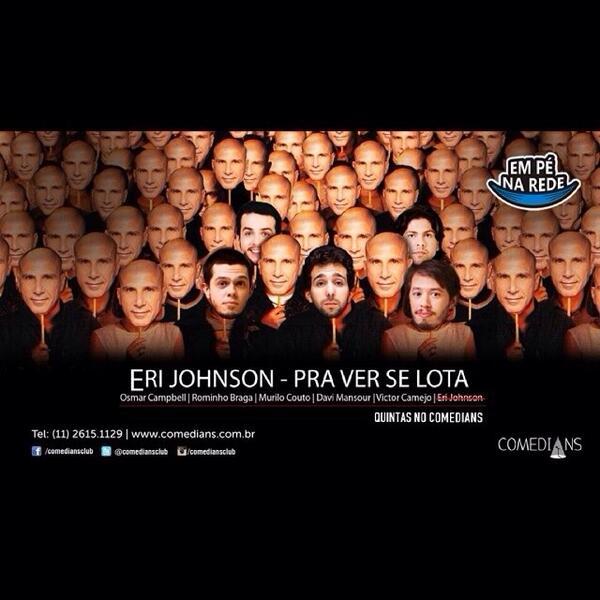 Já já, às 21h30 tem Eri Johnson - Pra Ver se Lota. http://t.co/YrDZ6eDYQW