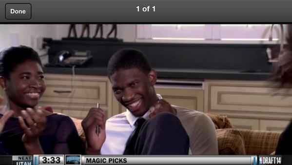 Embiid smiling at Sixers pick (read: there is a timing delay on the first shot) #togetherwebuild http://t.co/D8aMcf072S