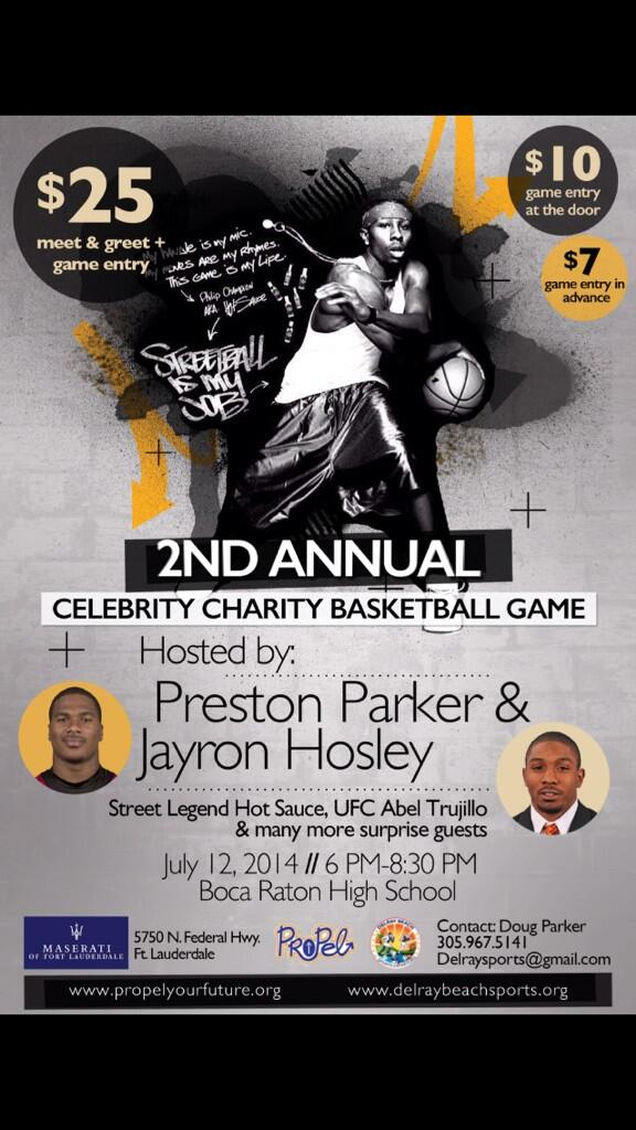 "I need 305, 954, and the whole 561 to come show love at the Charity Basketball Game on July 12"" http://t.co/WZhjJuy2dz"