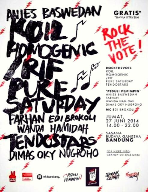 /rif akan main jam 8 malam ini di Sabuga, Bandung. Acara ini gratis, cukup menunjukkan KTP saja.  Mari berkumpul! http://t.co/MqHFAWx4vf