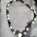 Terrific Necklace #Handmade Antique Brass, Amazonite & Smoky Quartz Beads http://t.co/97ZRaegvtp http://t.co/LvQDGNiiFQ #etsymntt