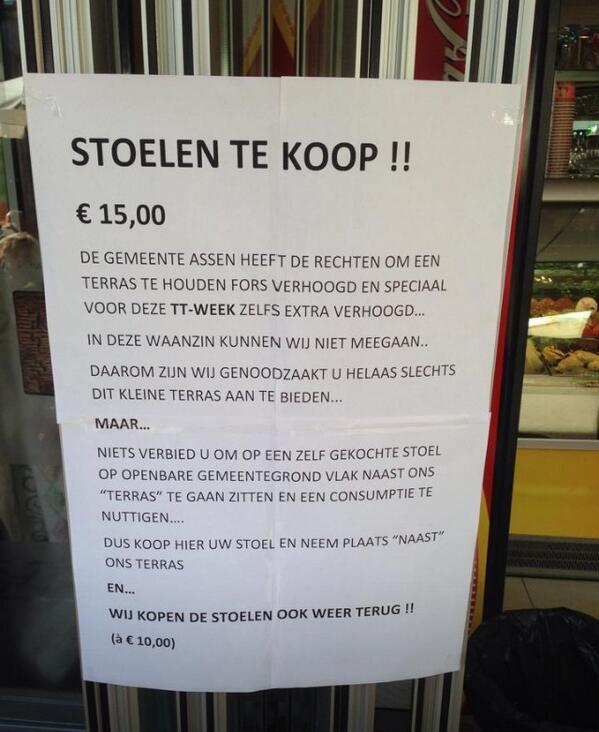 """Terrasslimheid! RT @uitdrukkelijk: """"@biancadenouter: Ik hou van dit soort ongehoorzaamheid! http://t.co/w19WcnAopC"""" slim #omdenken"""