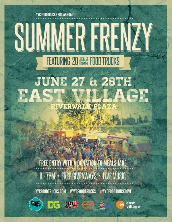 FRIDAY & SATURDAY: @YYCFoodTrucks Summer Food Truck Frenzy in @EastVillageYYC! 20 food trucks, 11am-7pm both days. http://t.co/jklGhmloLi