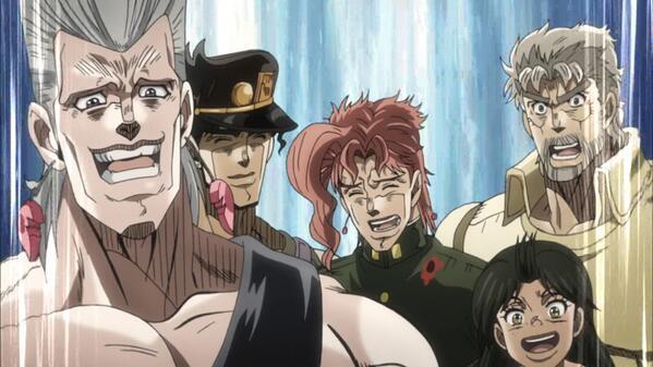 承太郎がすごい笑顔だwwww #jojo_anime http://t.co/2hQNPsCE9E