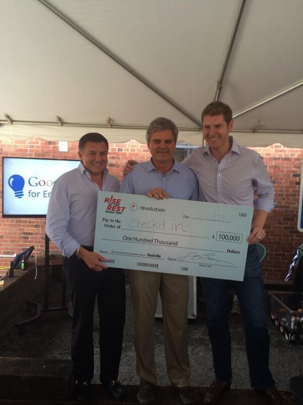The winner of #Nashville's #RiseOfRest Pitch Competion is... @checkdin     @revolution @SteveCase @GoogleForEntrep http://t.co/i5dO3HSpSG