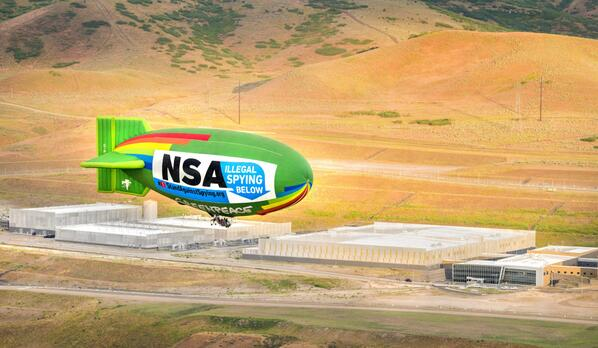 It's true. EFF and @Greenpeace flew a 135 ft. airship over the NSA data center in Utah. https://t.co/7HQuXZDjpk http://t.co/jtouh3YNmd