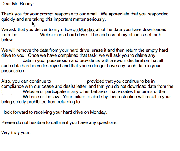 I got this hilarious cease and desist for scraping someone's site. http://t.co/BCvFm0tlWA