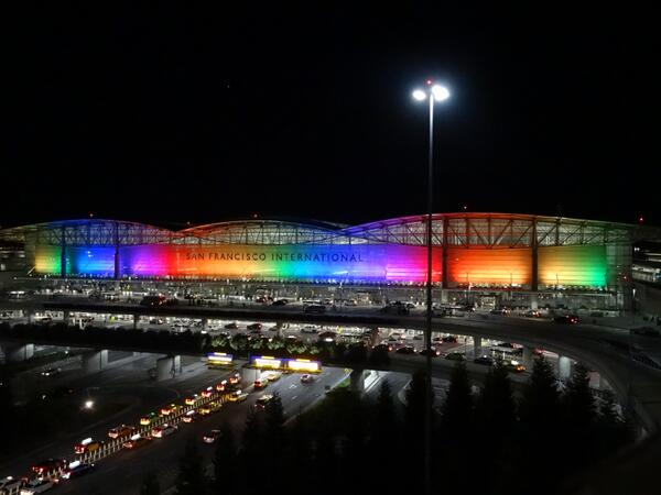 #SFO welcomes all who are here for #Pride weekend. Our new LED lights kick-off the celebration tonight! #SFO http://t.co/bFI4hD7puX